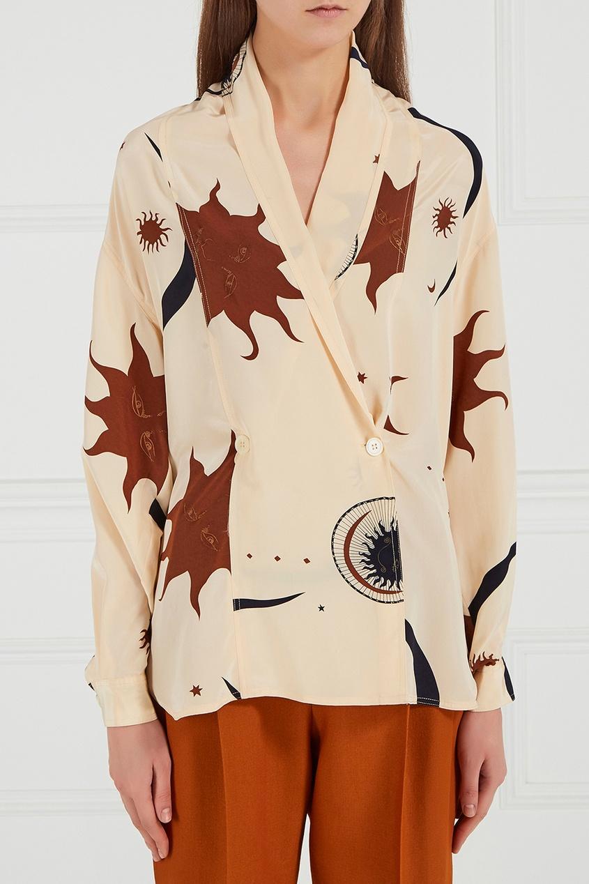 Шелковая блузка с принтом (90-е)