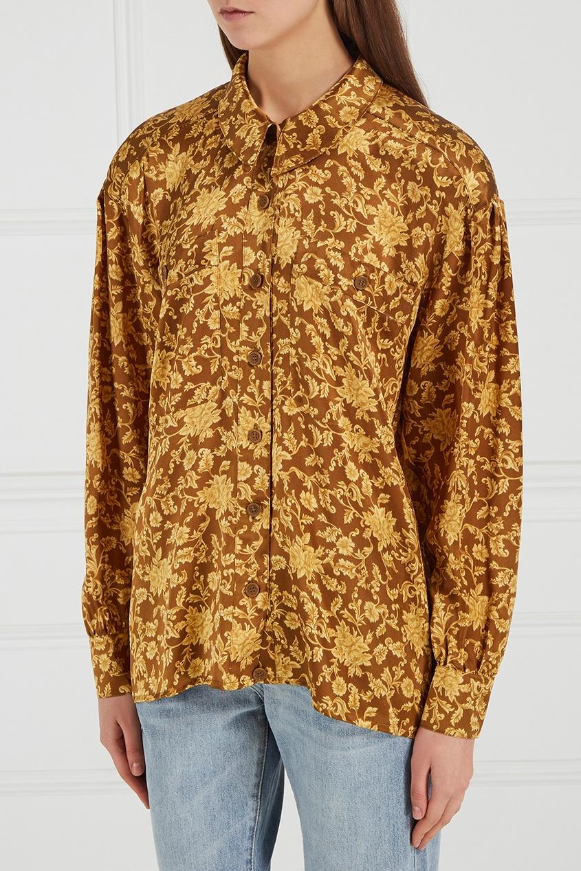 Шелковая блузка с принтом (80-е)