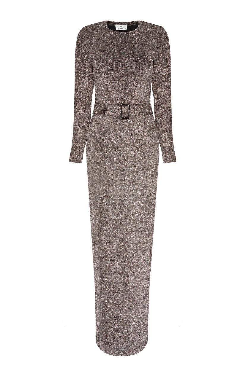 LAROOM Трикотажное платье-макси с люрексом