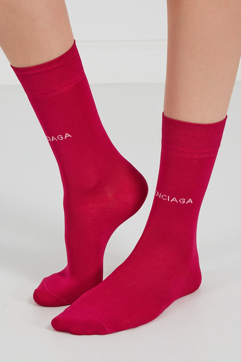 Розовые носки с логотипом