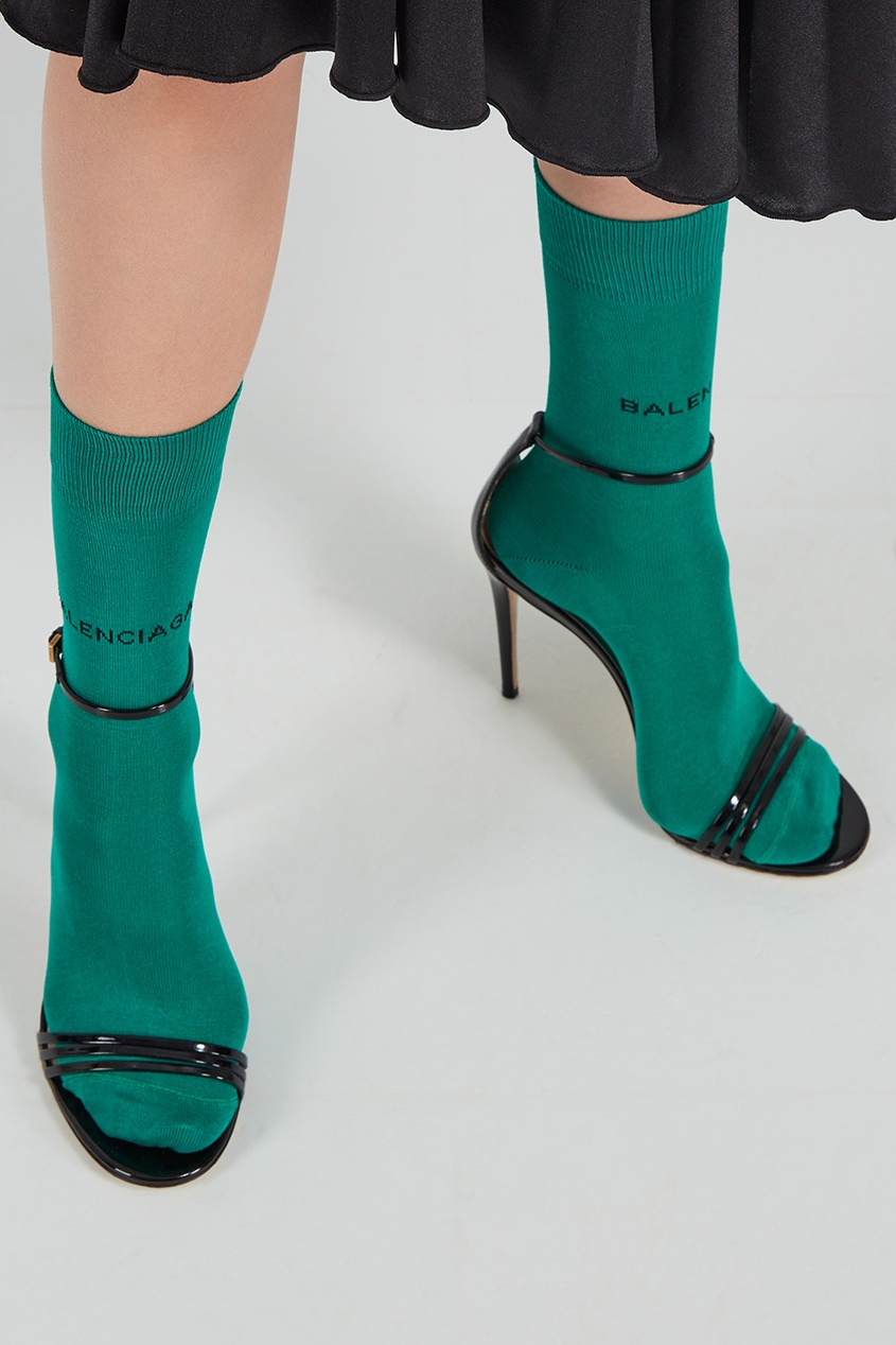 Зеленые носки с логотипом