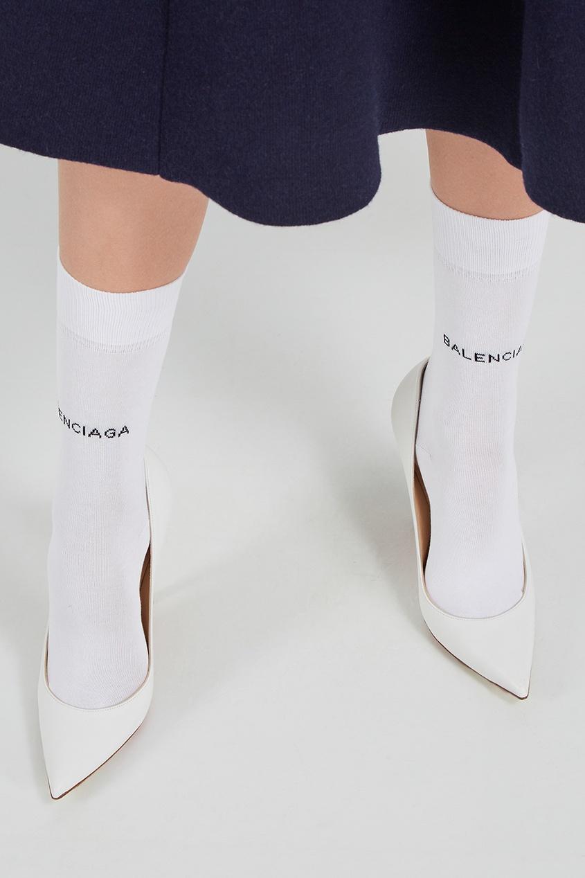 Balenciaga Белые носки с логотипом balenciaga джинсовые брюки