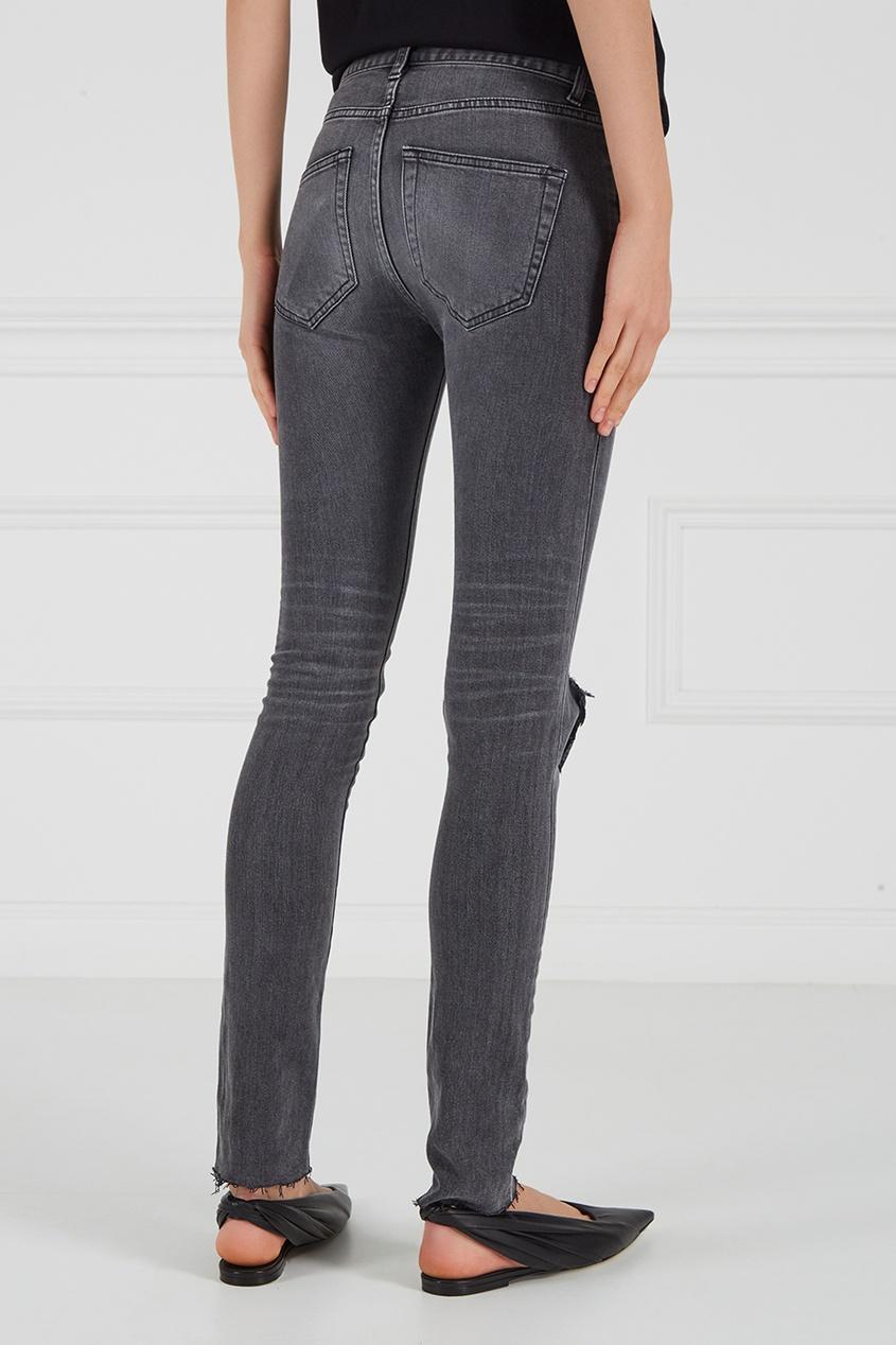 Balenciaga Серые джинсы с разрывом