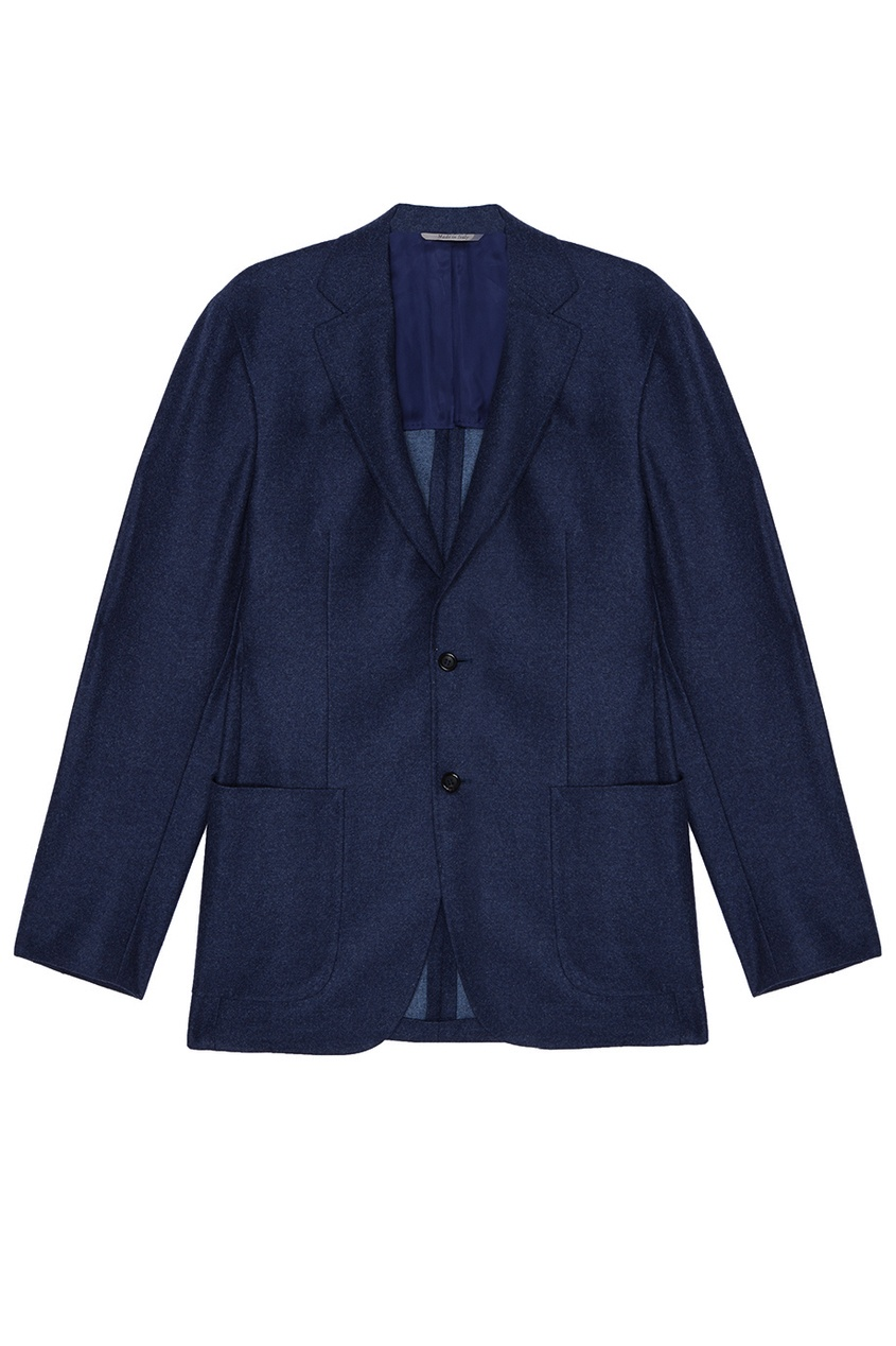 Canali Синий шерстяной пиджак canali шерстяной свитер поло