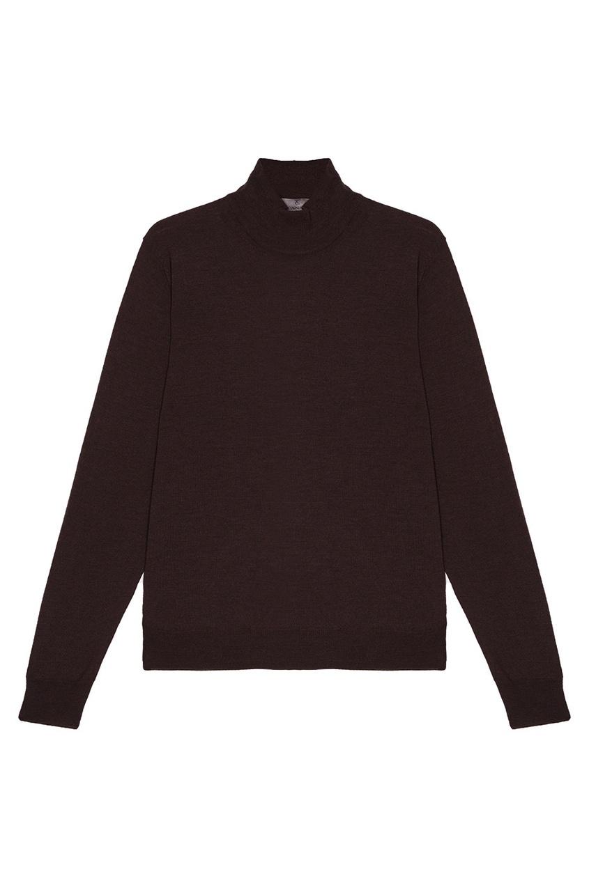 Canali Коричневый свитер из шерсти canali шерстяной свитер поло
