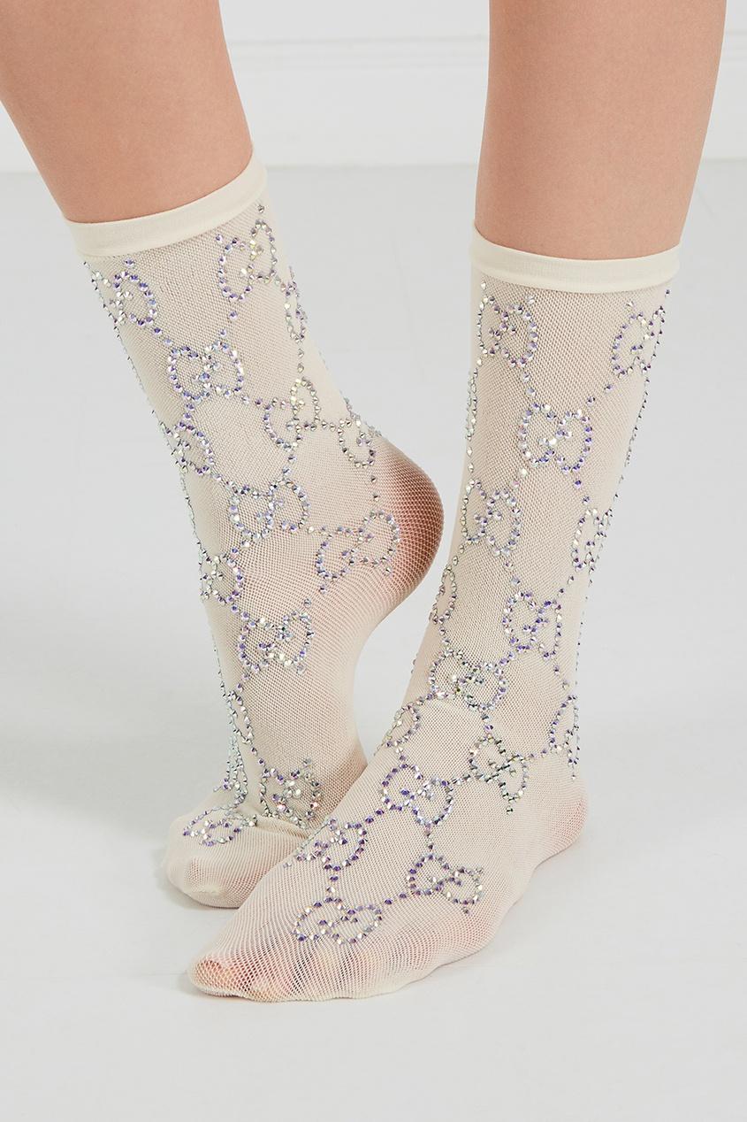 Белые носки с кристаллами