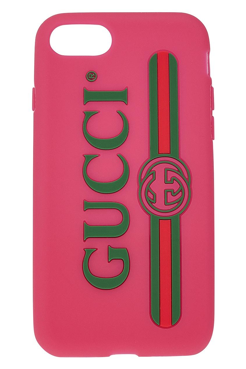 Розовый чехол для iPhone 7 с логотипом