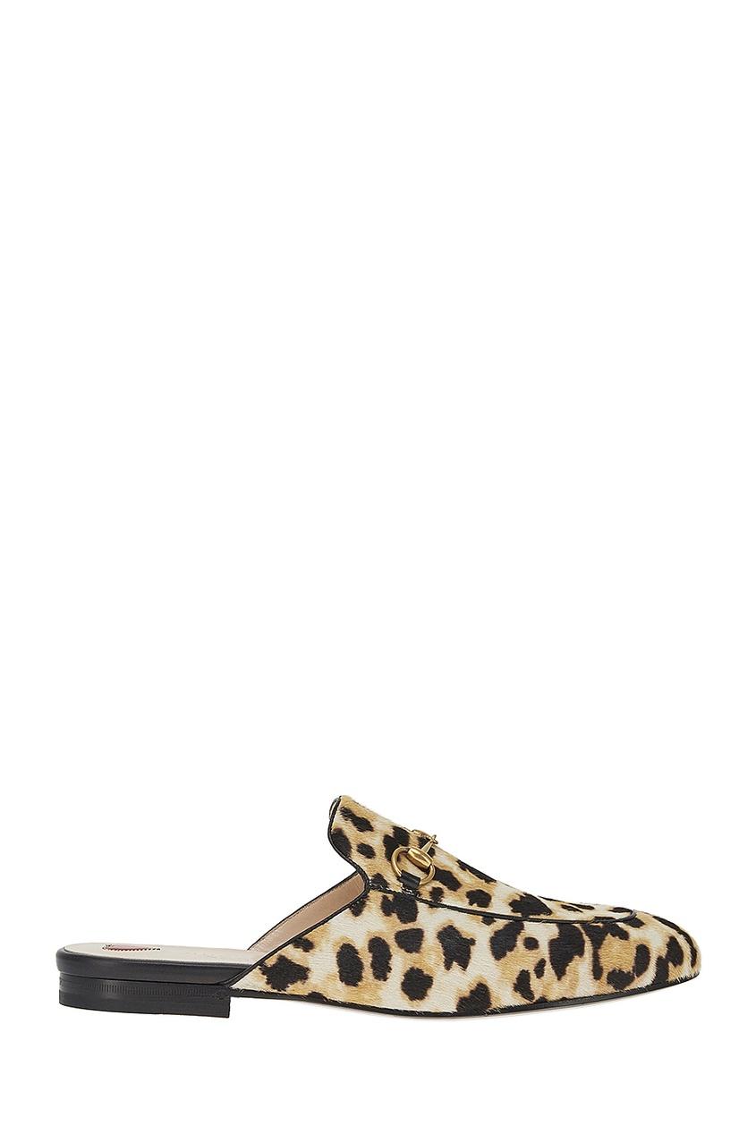 Слиперы с леопардовым принтом Princetown Gucci