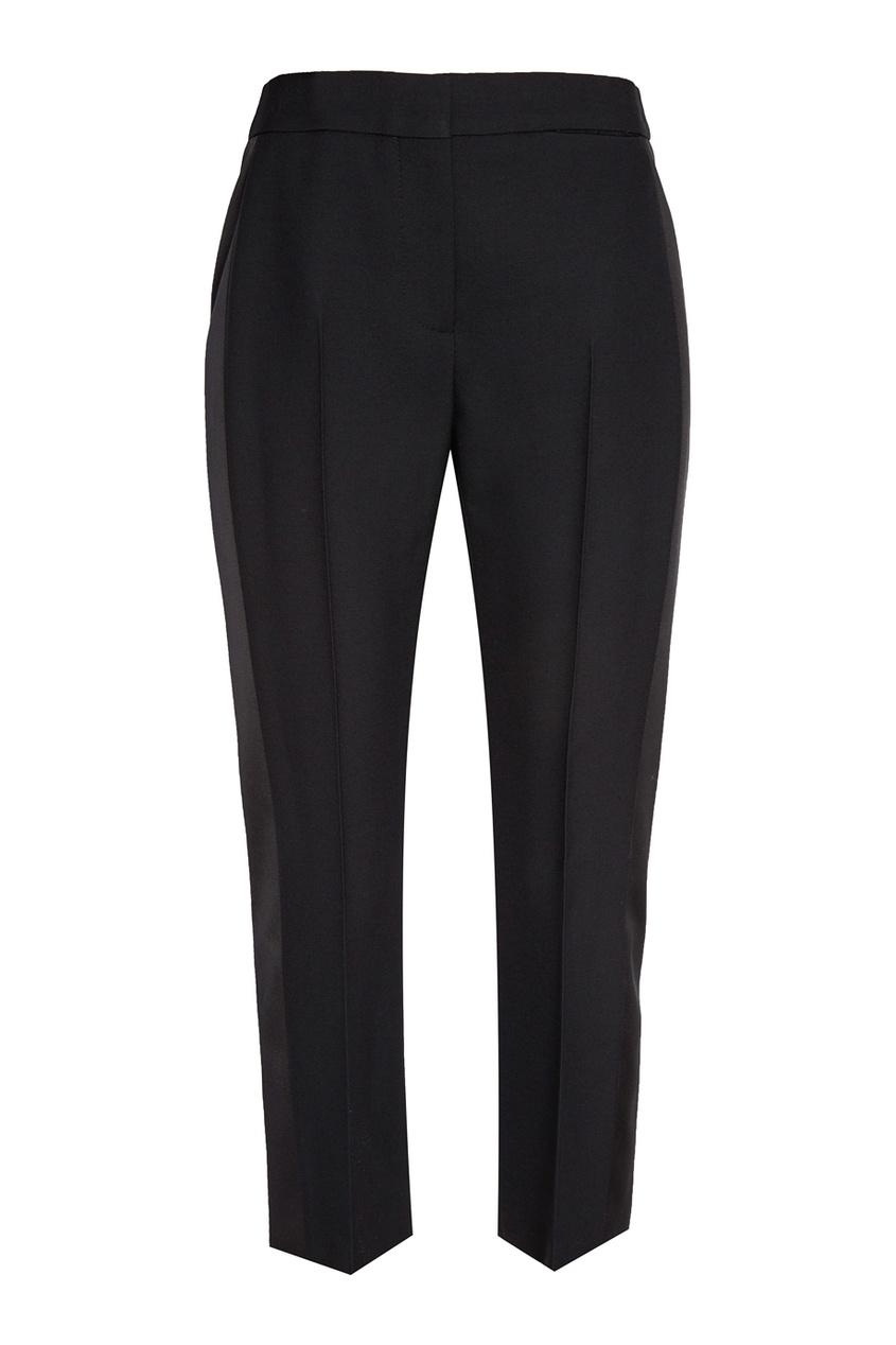 Купить со скидкой Черные брюки из шерсти и шелка