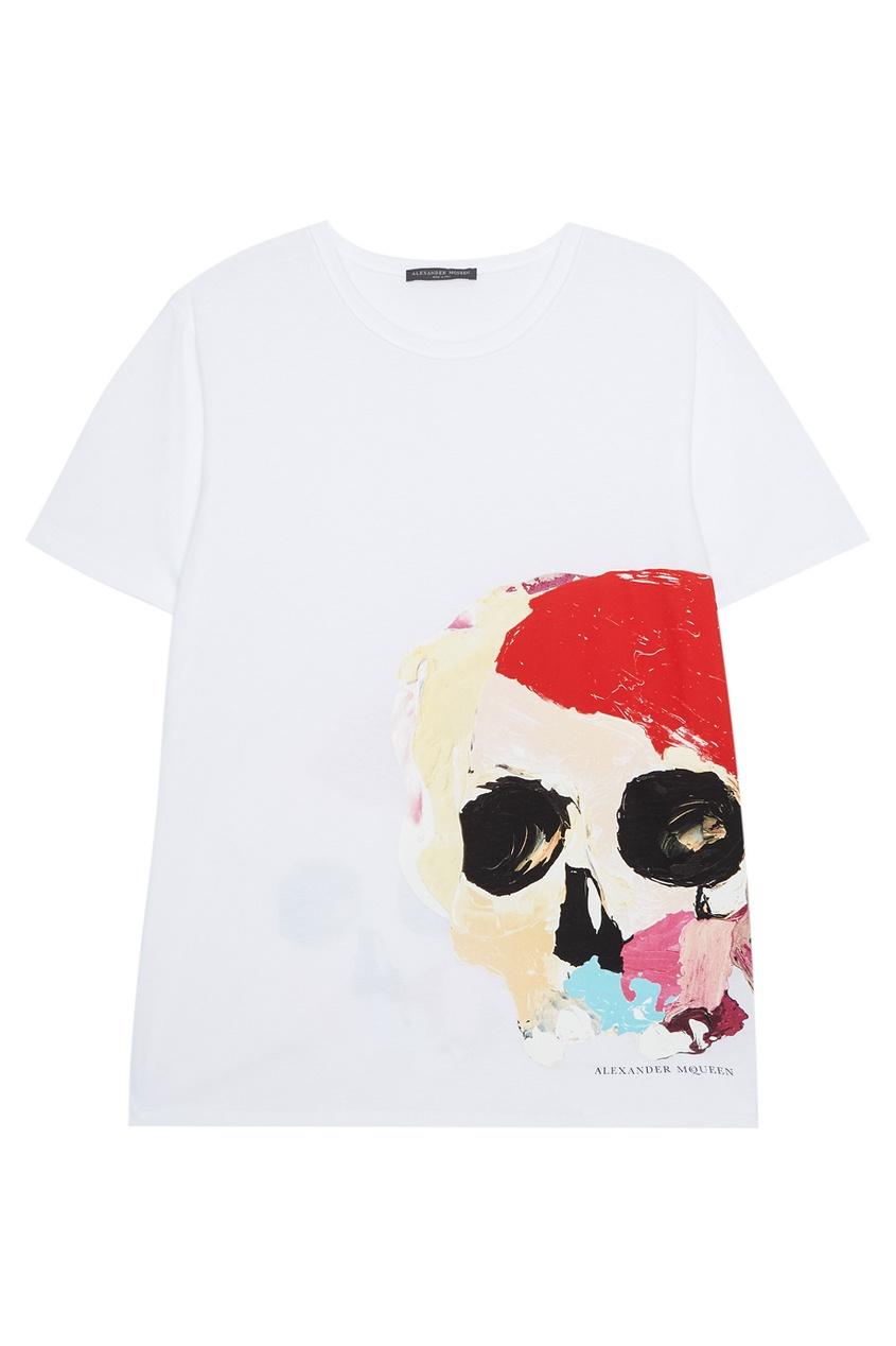 Alexander McQueen Белая футболка с черепом футболка белая с ярким принтом catimini ут 00011630