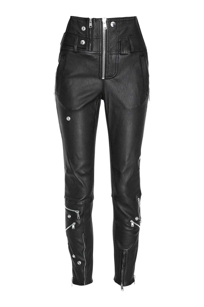 Alexander McQueen Кожаные брюки с молниями и кнопками constance c белые брюки с кнопками