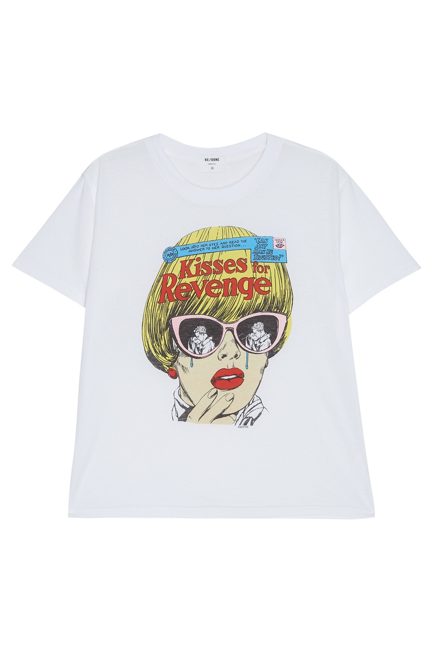 Re/done Хлопковая футболка с принтом футболка белая с ярким принтом catimini ут 00011630