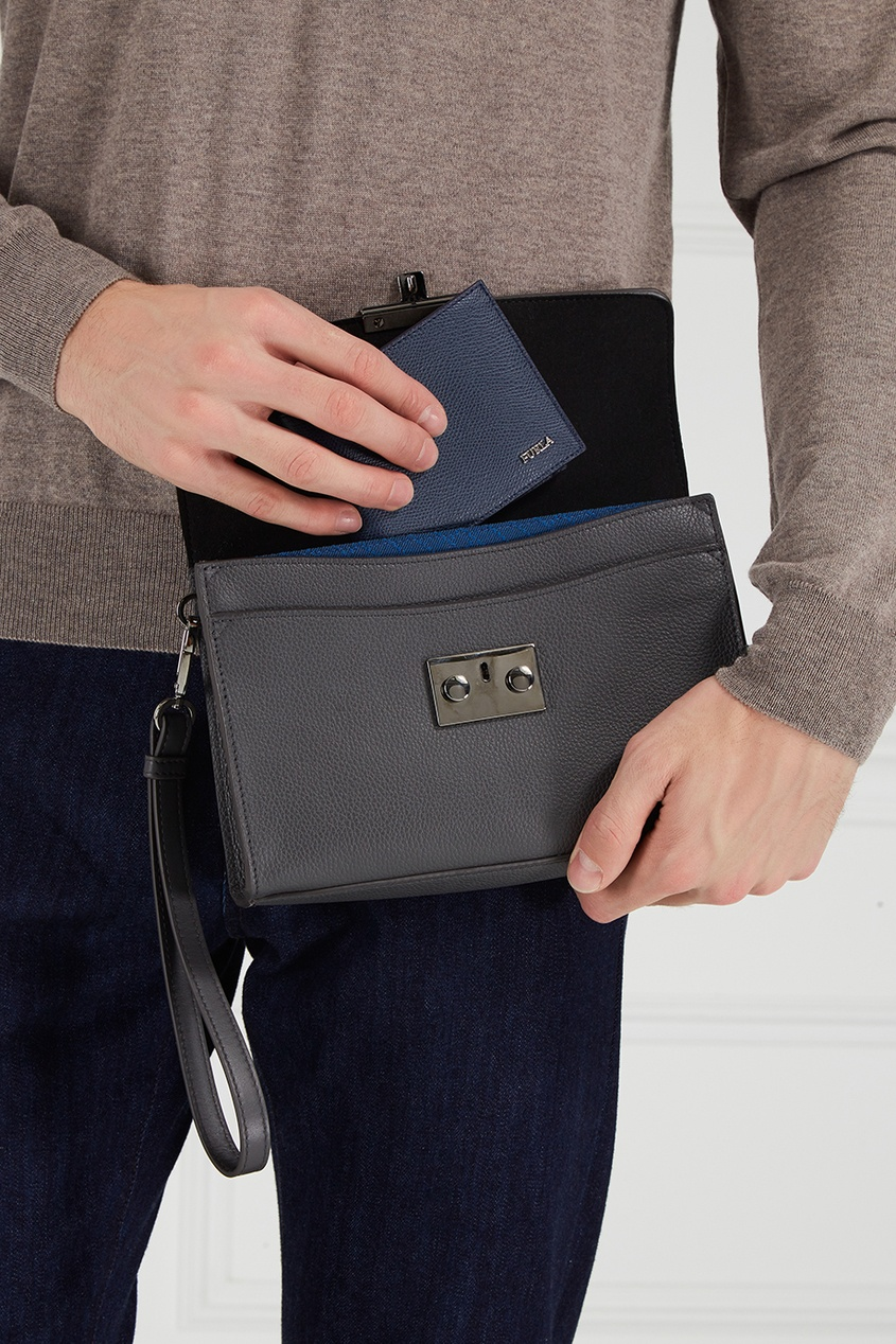 furla серый кожаный кошелек man marte FURLA Синий кожаный кошелек Man Marte