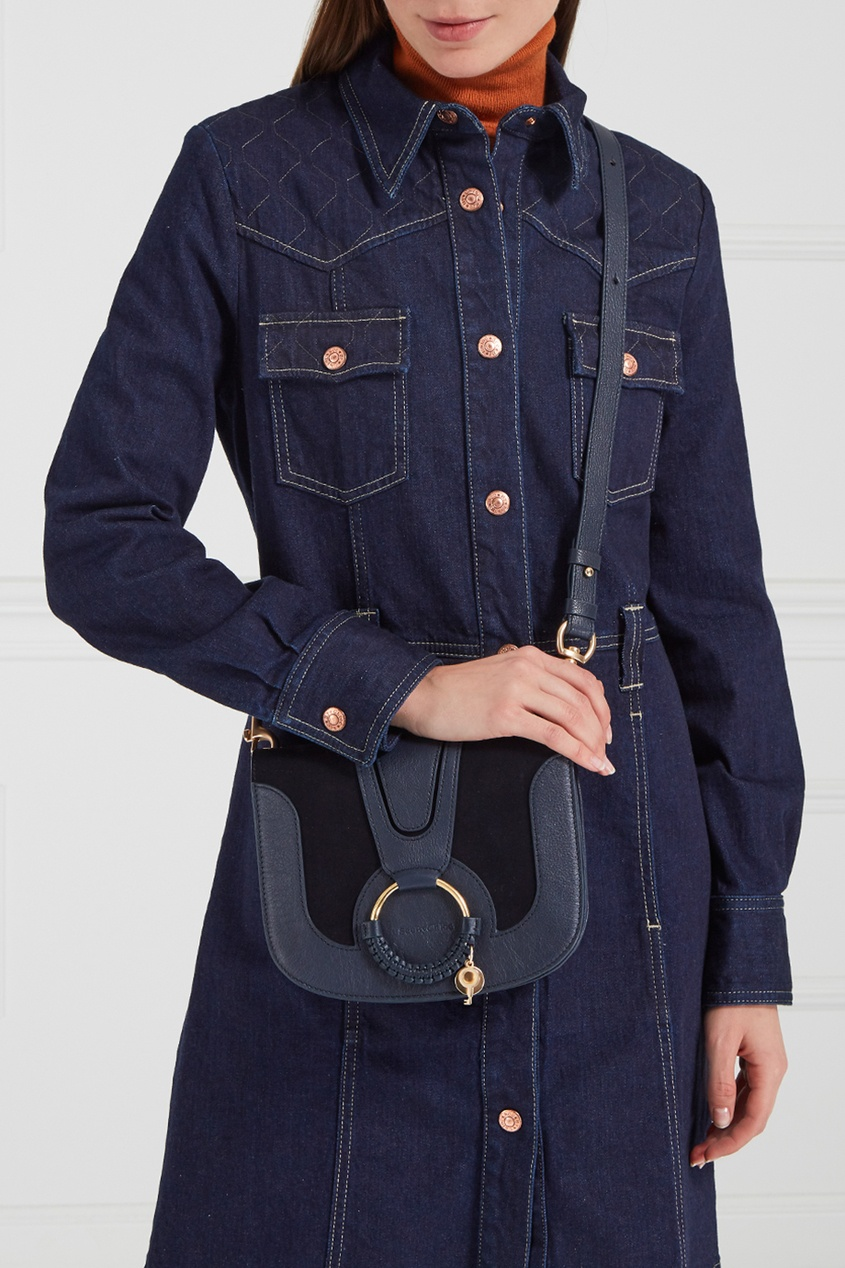See By Chloé Синяя сумка из кожи и замши Hana