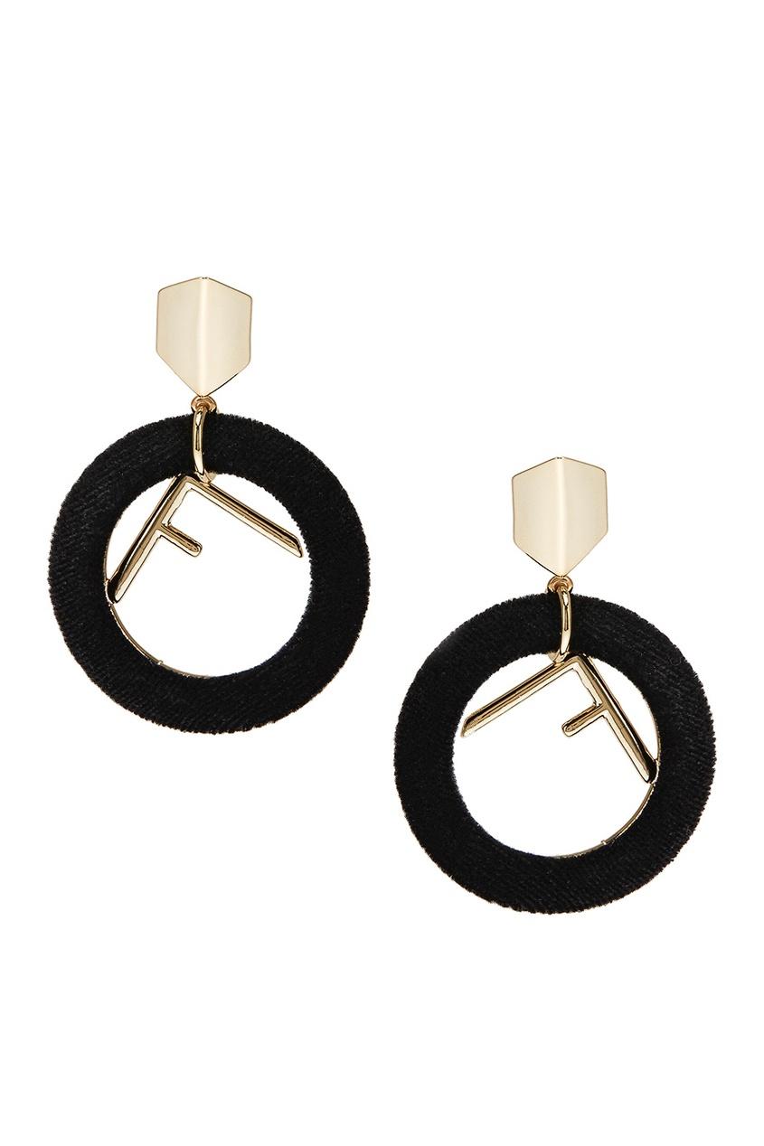Lisa Smith Серьги  бархатными кольцами черные