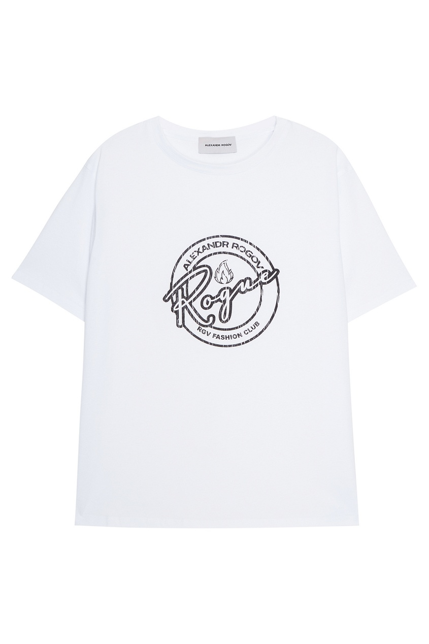 Фото #1: Белая футболка с принтом