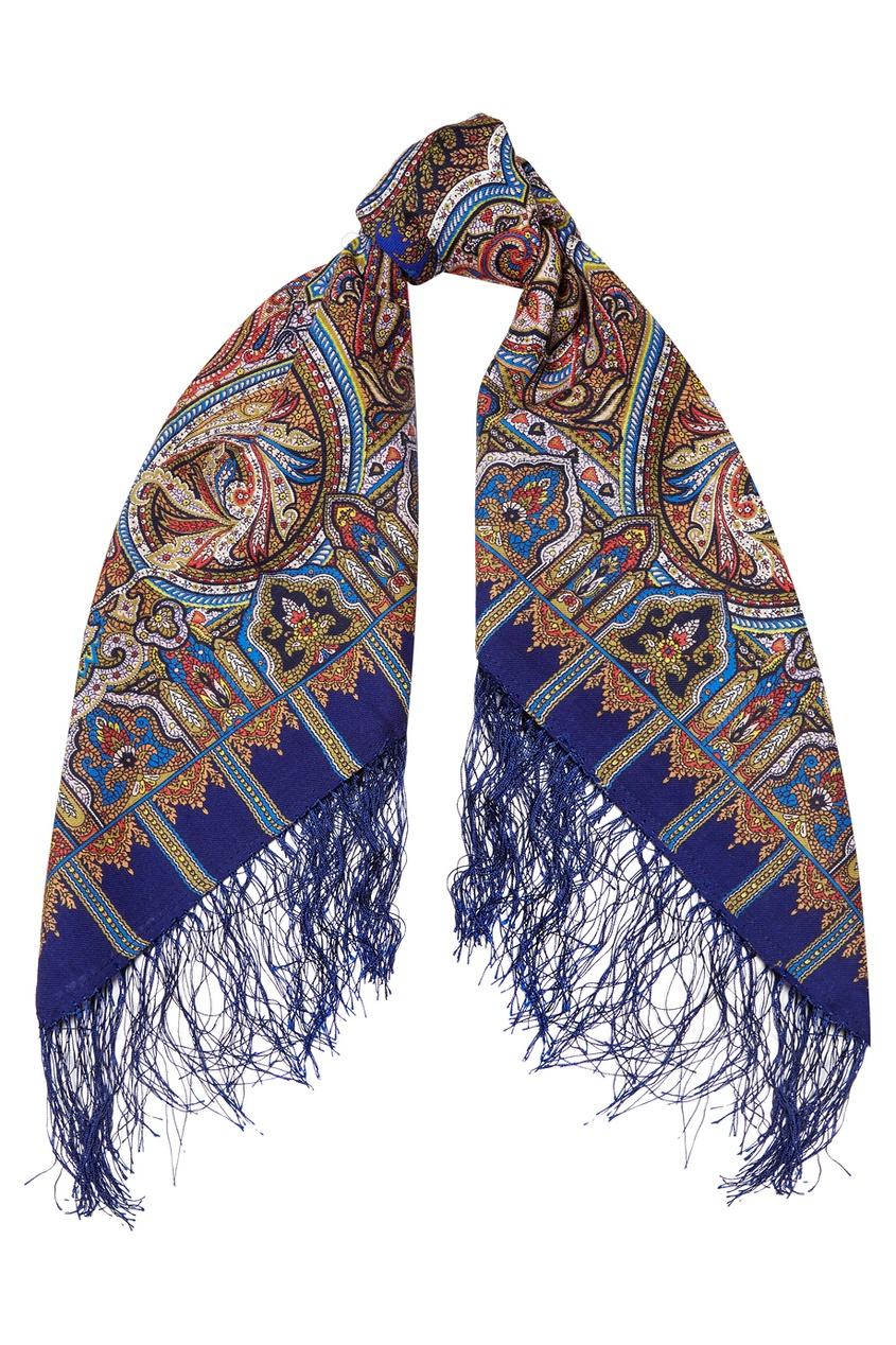 Павловопосадская Платочная Мануфактура Синий платок с восточным орнаментом