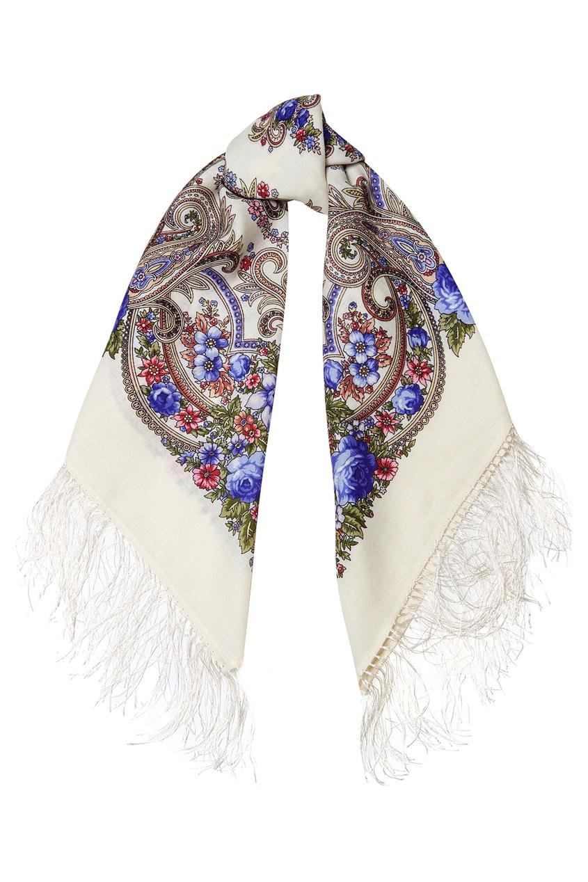 Белый платок с цветочным орнаментом