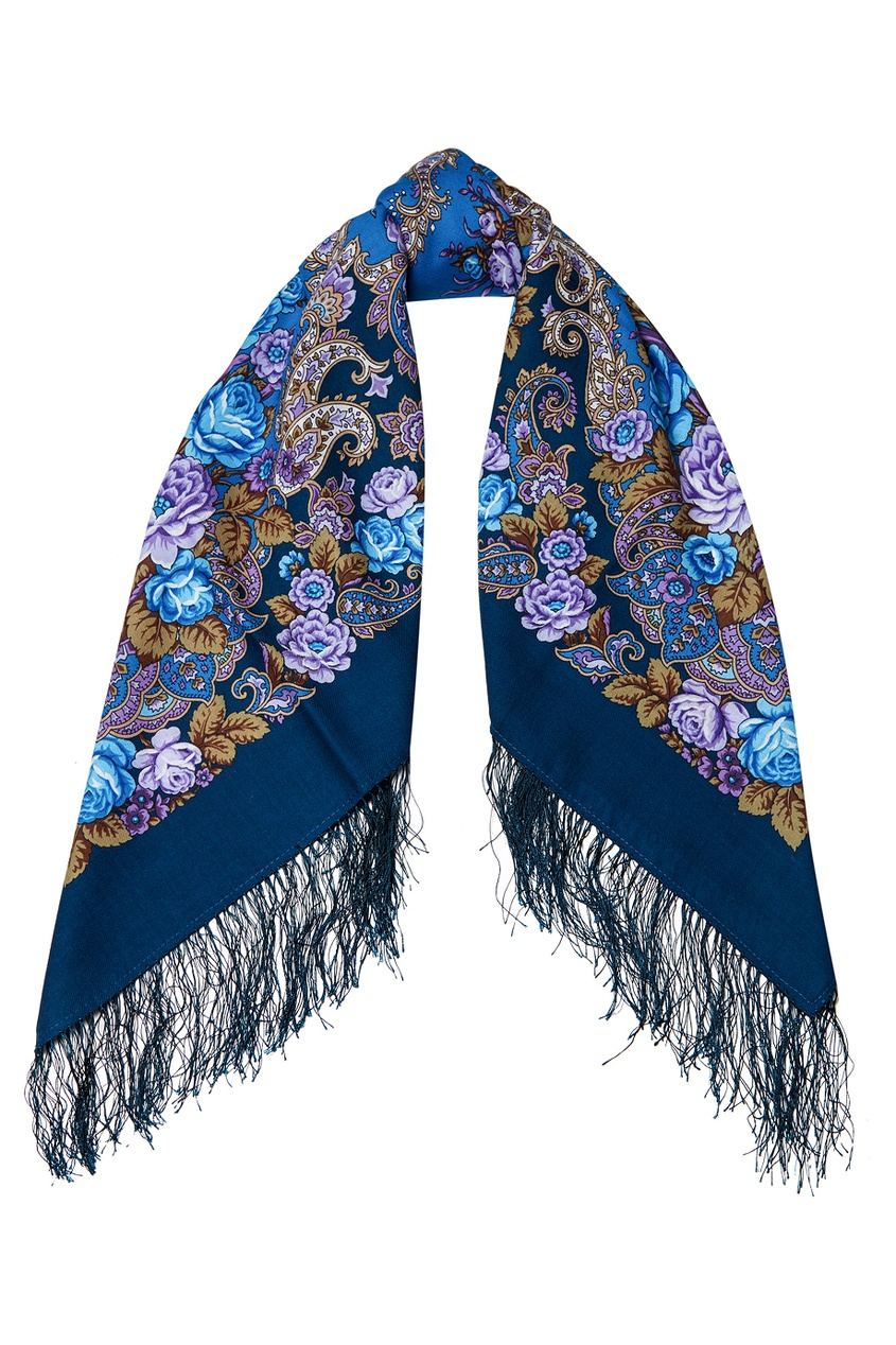 Синий платок с цветами