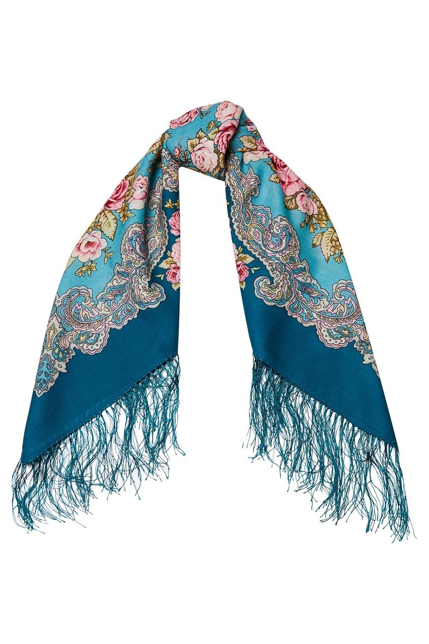 Бирюзовый платок с розами