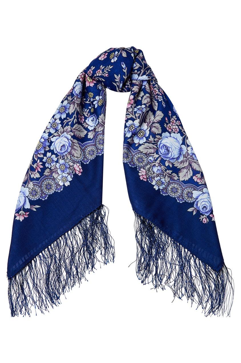 Синий платок с мелкими розами