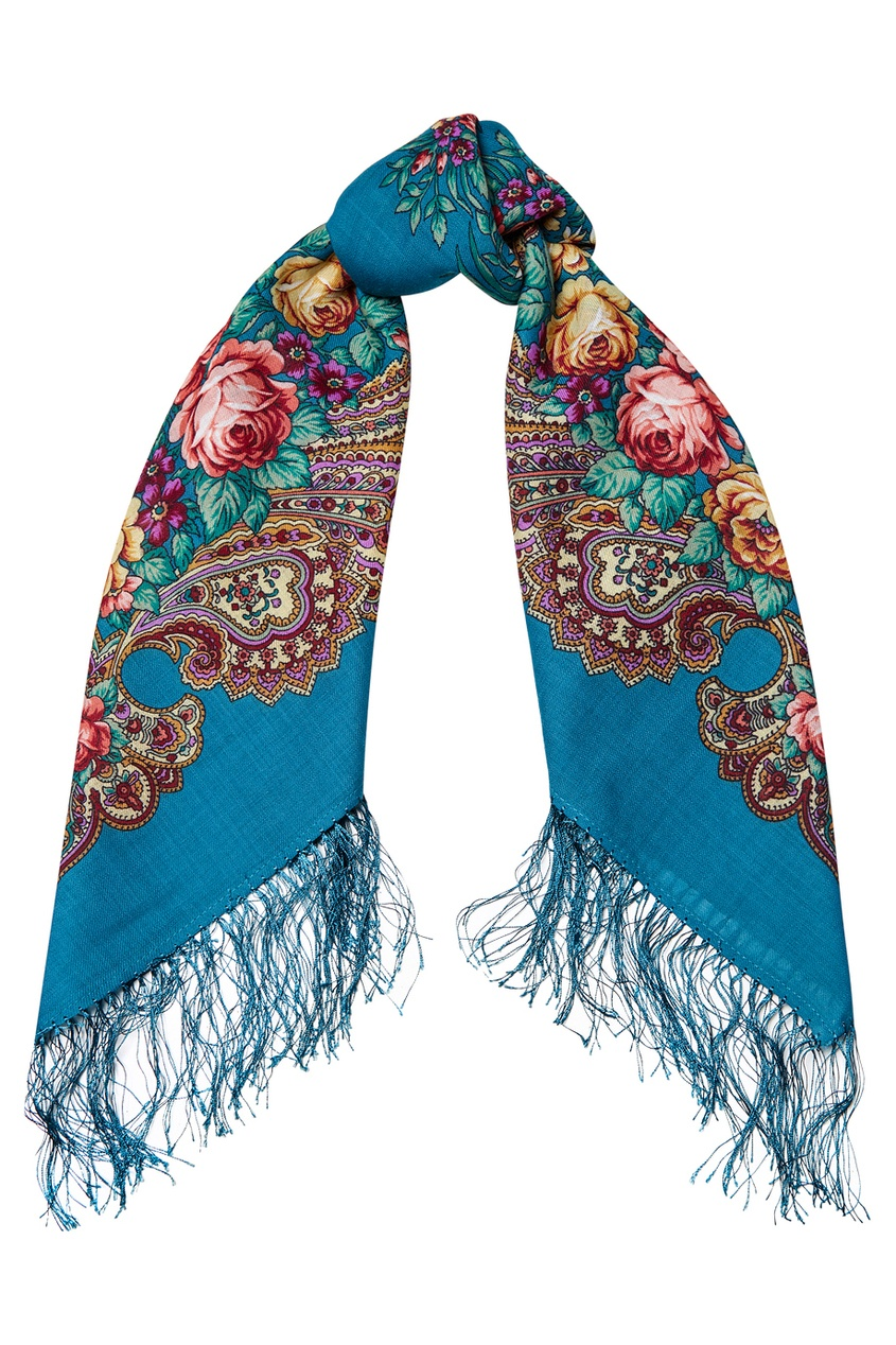 Бирюзовый платок с розами и завитками