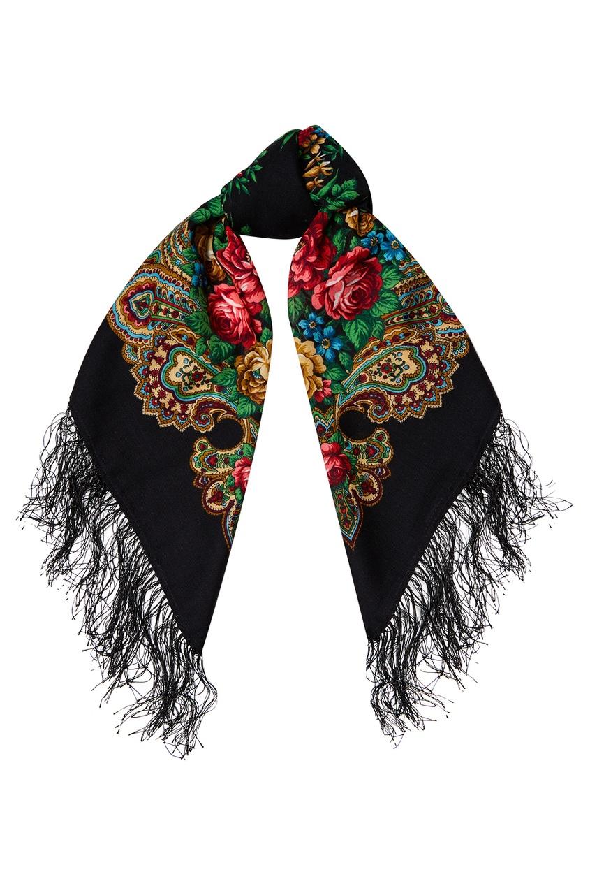 Черный платок с розами