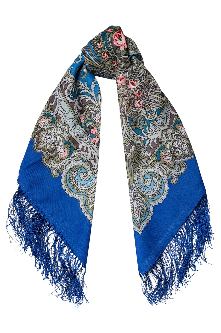 Синий платок с узорами