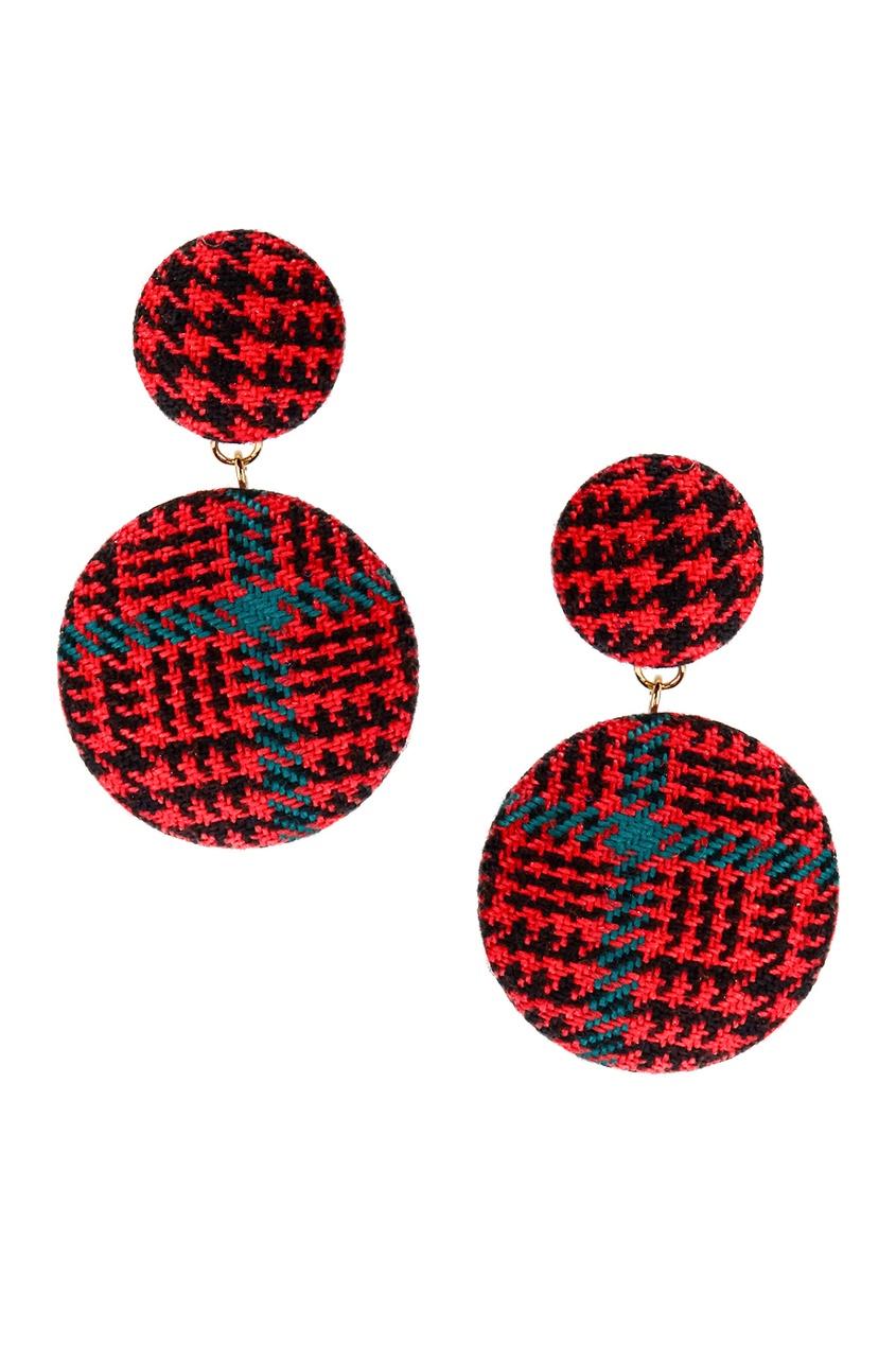 Lisa Smith Красные серьги с текстильной отделкой