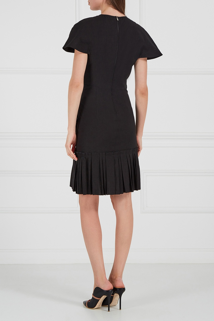 Льняное платье с воланом