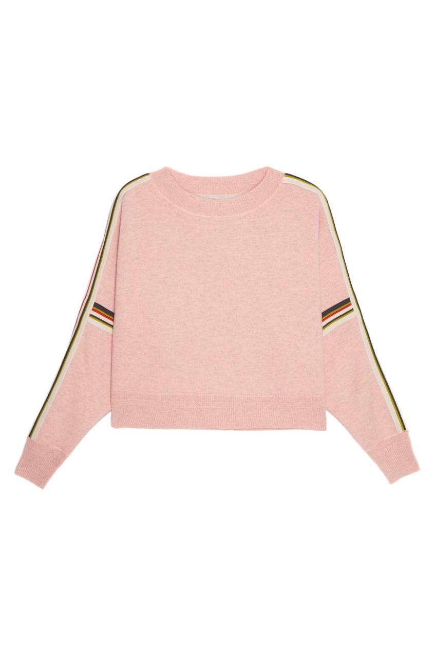 Розовый джемпер с полосками на рукавах