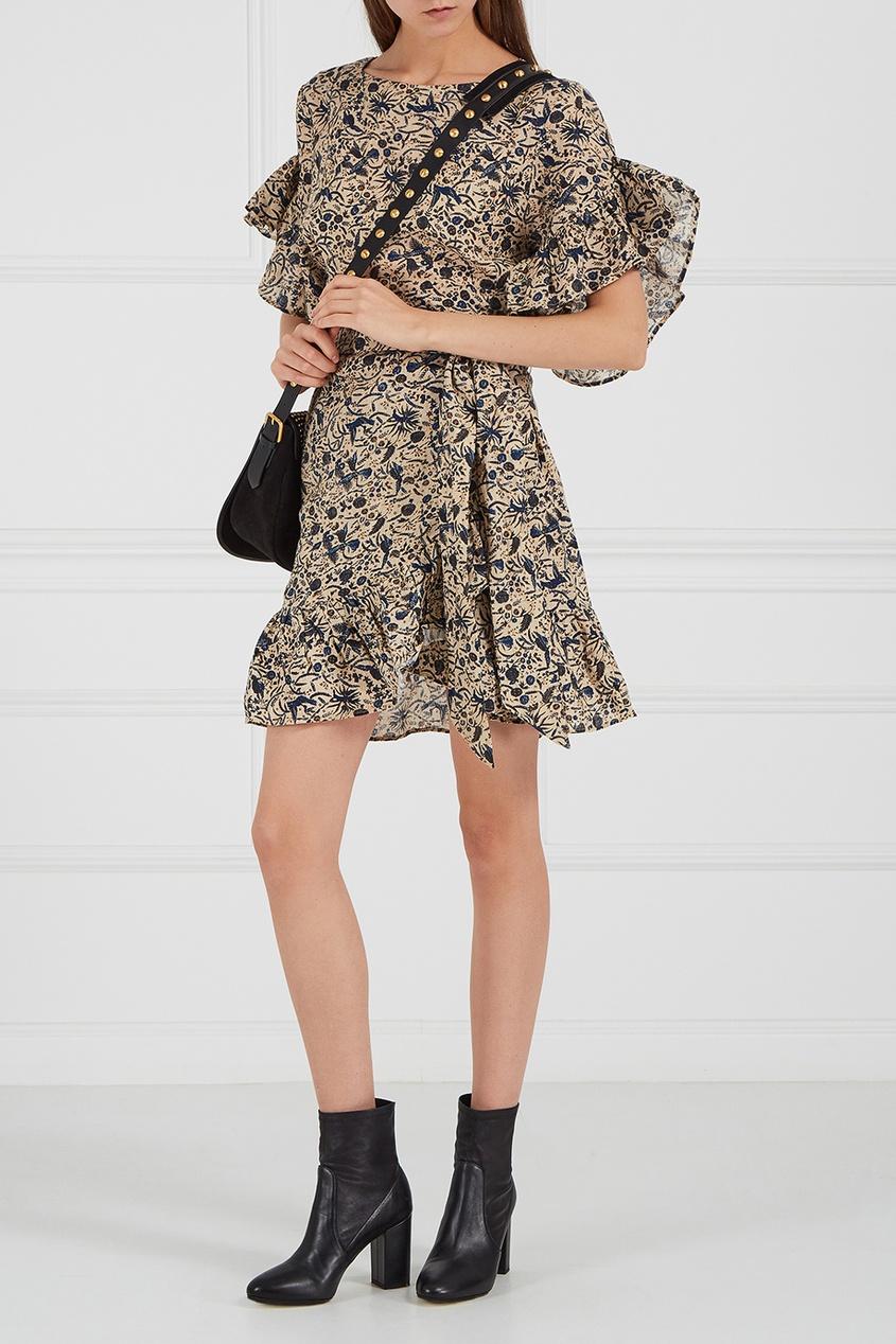 Льняное платье с оборками