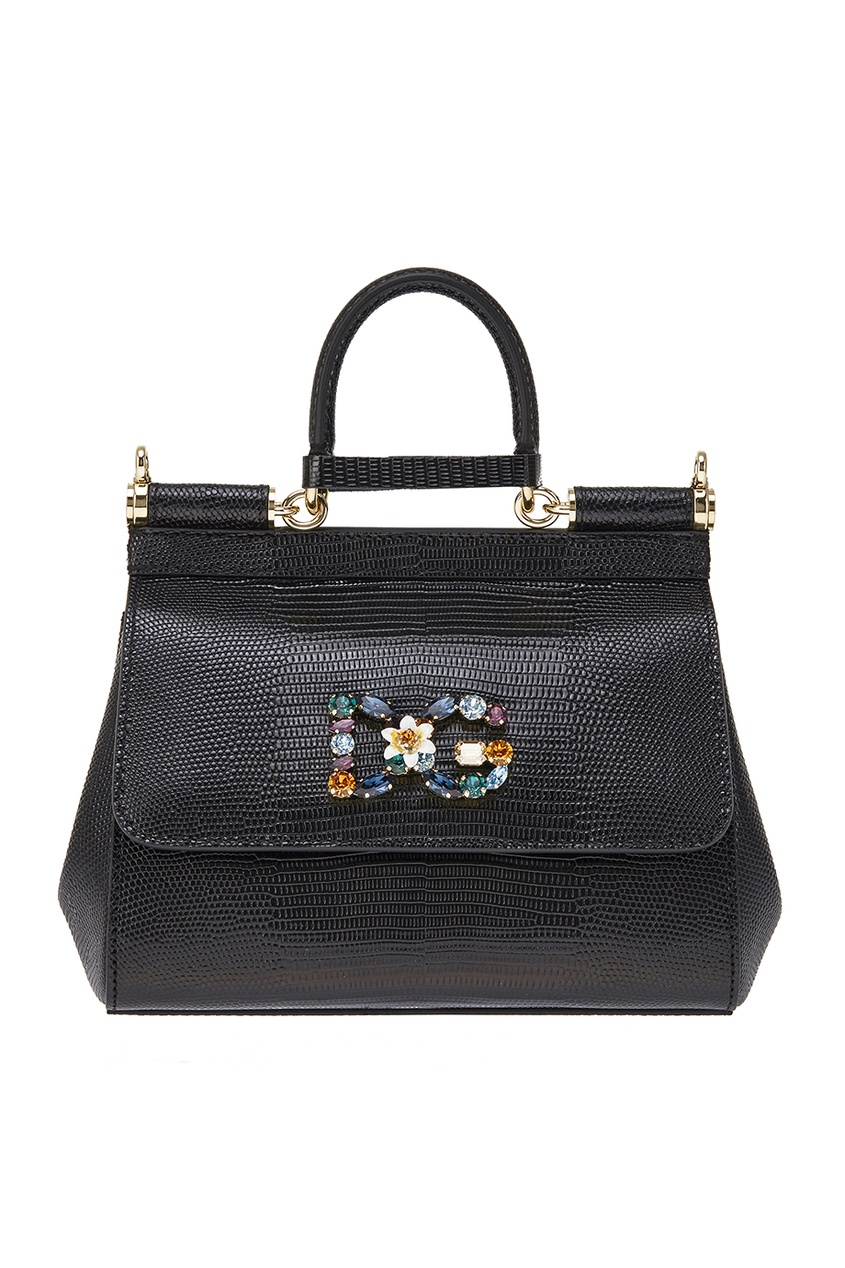 Dolce&Gabbana Черная кожаная сумка Sisily