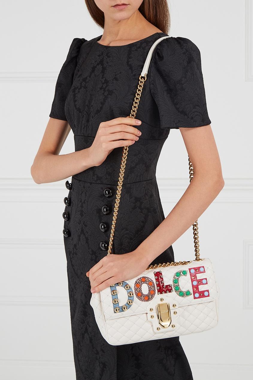 Dolce&Gabbana Белая кожаная сумка Lucia одежда из кожи dolce gabbana g9z03l fult6 dolce