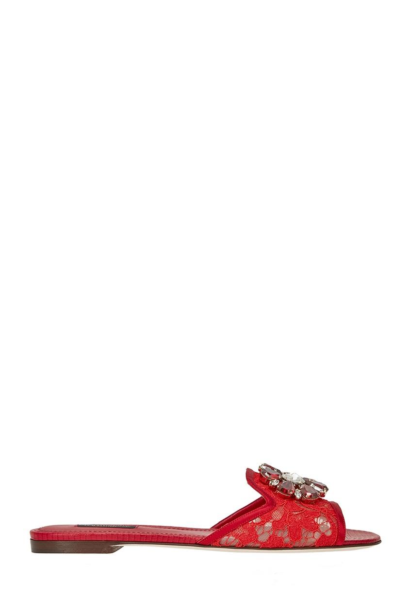 Dolce&Gabbana Красные слиперы из кружева