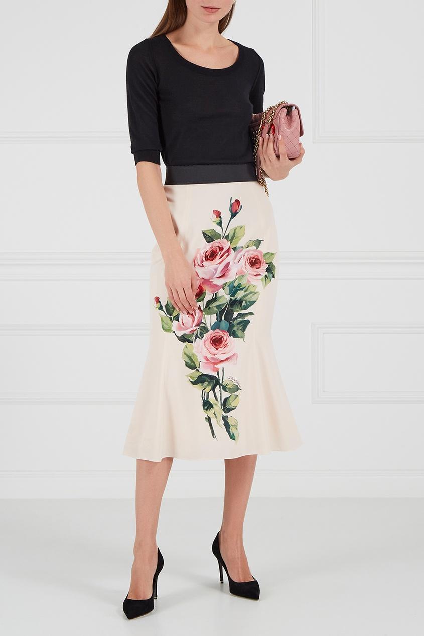 Шелковая юбка с розами