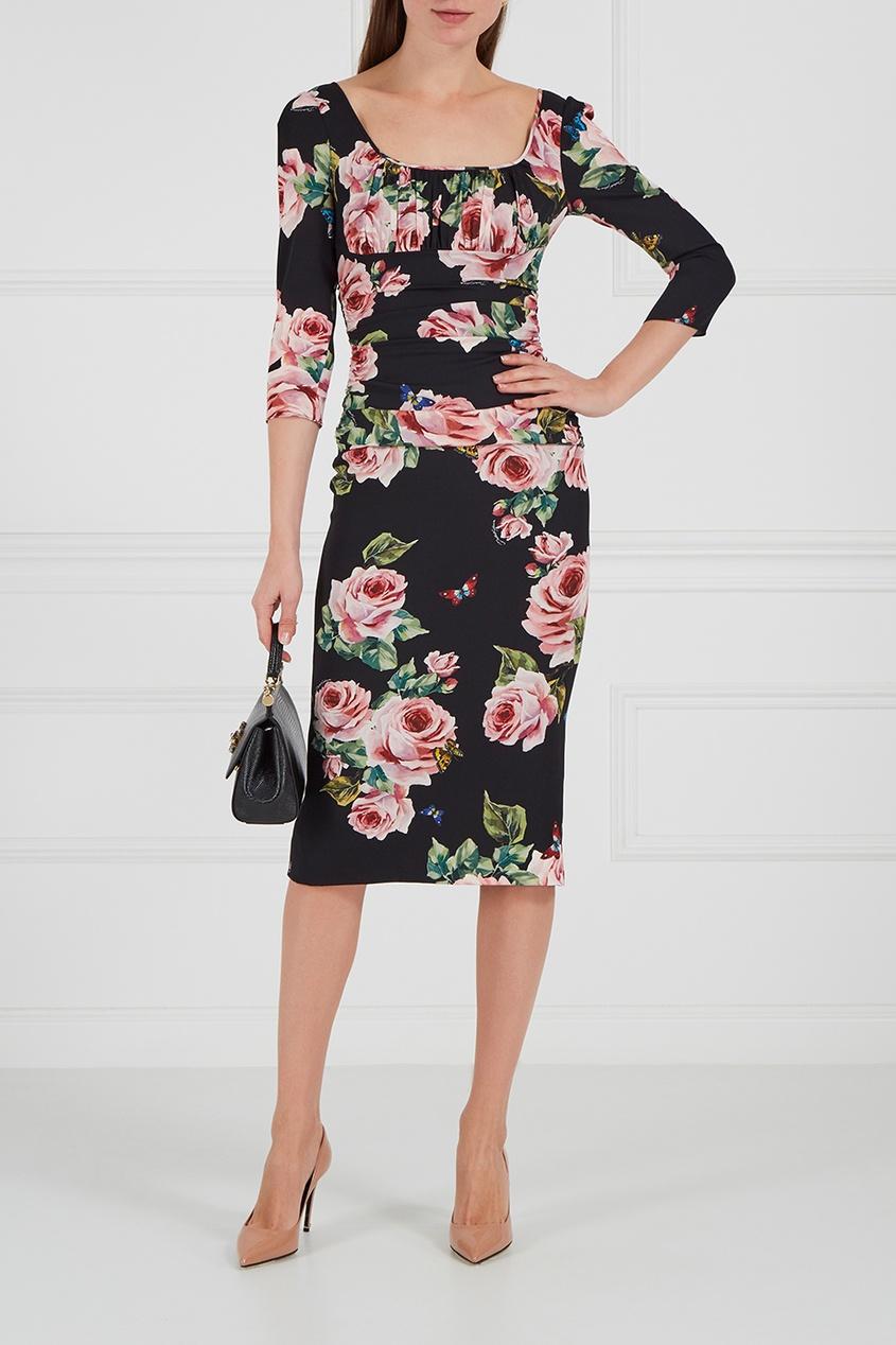 dolce and gabbana платье от gabbana 87443 Dolce&Gabbana Шелковое платье с драпировками