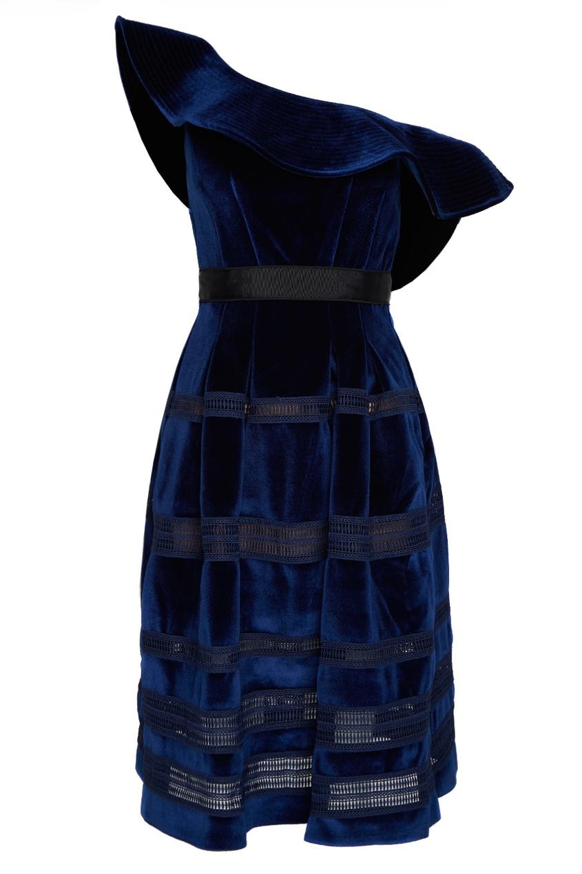 Self-Portrait Синее бархатное платье