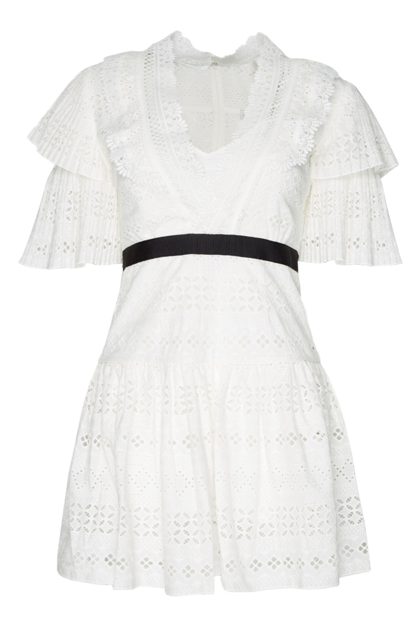 Self-Portrait Белое платье из вышитого хлопка self portrait белое кружевное платье миди