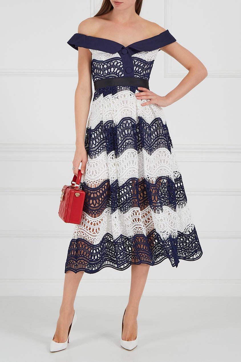 Платье-миди из кордового кружева