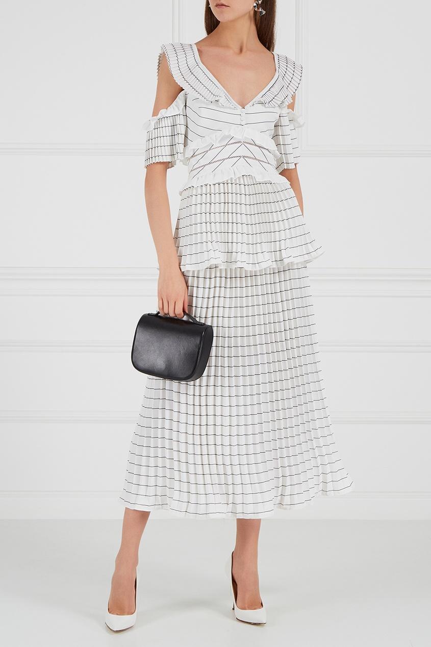 Плиссированное платье-миди