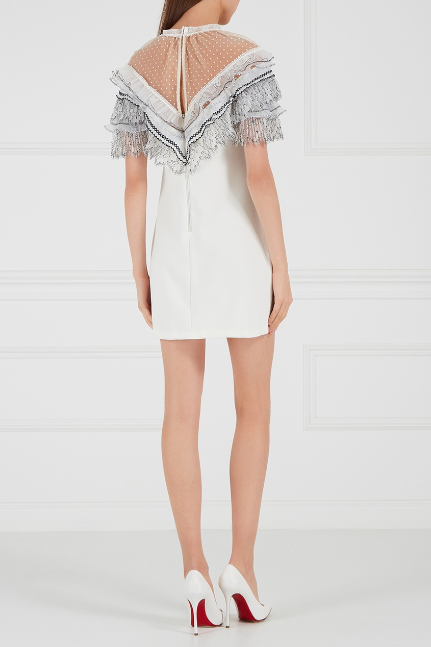 Платье-мини с кружевом по верху