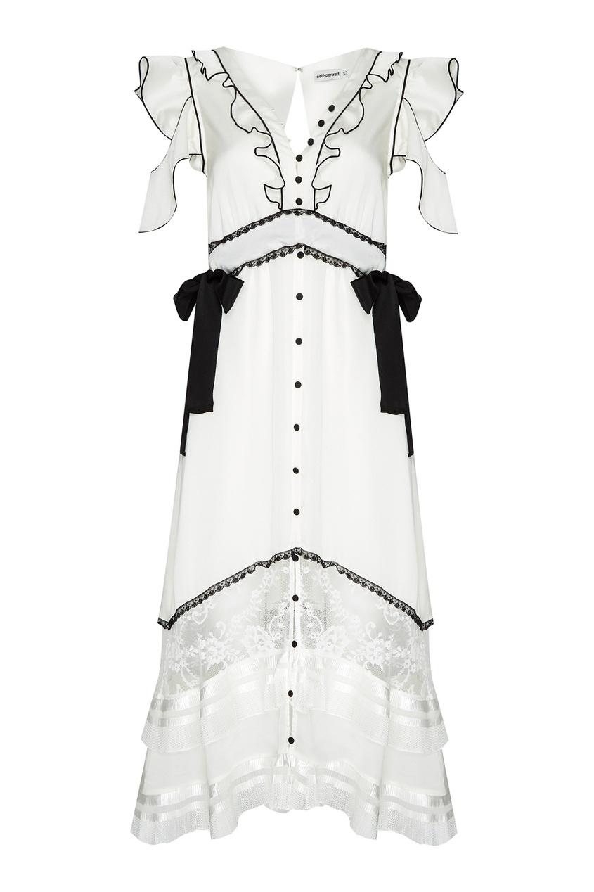 Self-Portrait Белое платье с контрастной отделкой self portrait белое кружевное платье миди