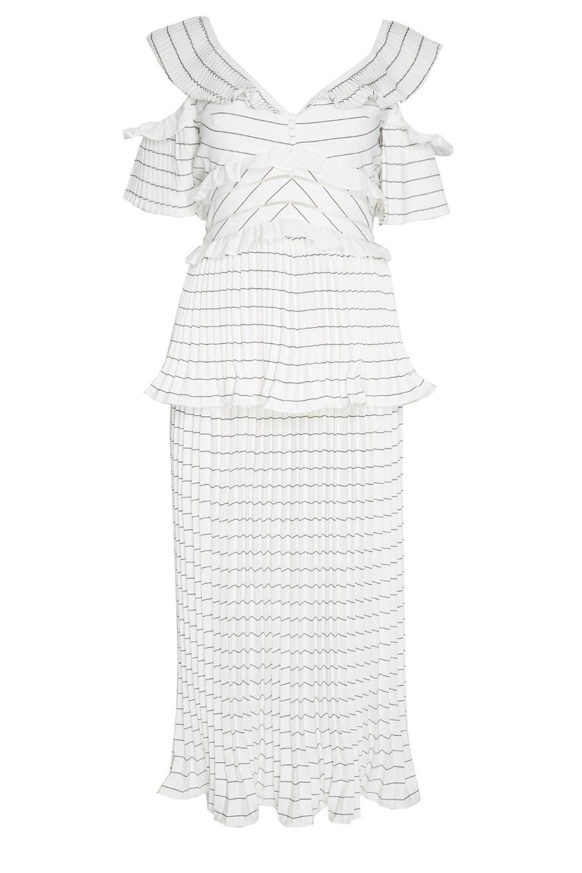 Self-Portrait Плиссированное платье-миди платье красно белое в полоску catimini ут 00011715