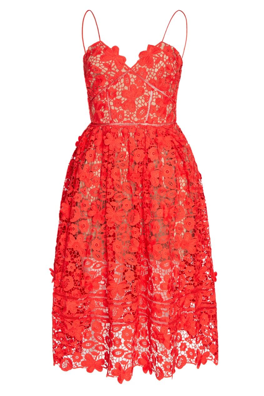 Self-Portrait Красное платье на бретелях