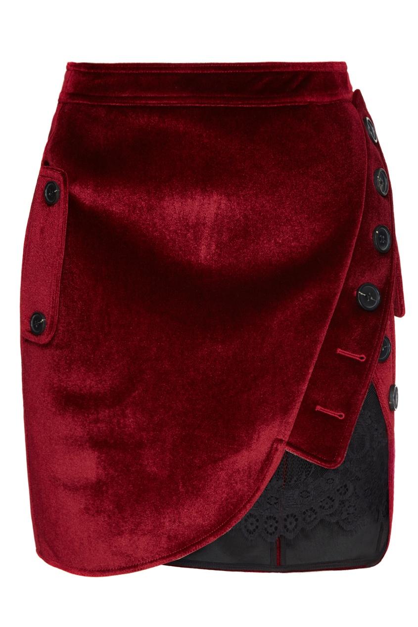 Красная бархатная юбка с кружевом