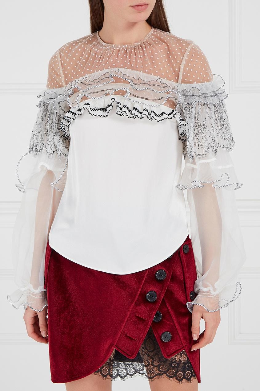Self-Portrait Белая блузка с кружевными воланами