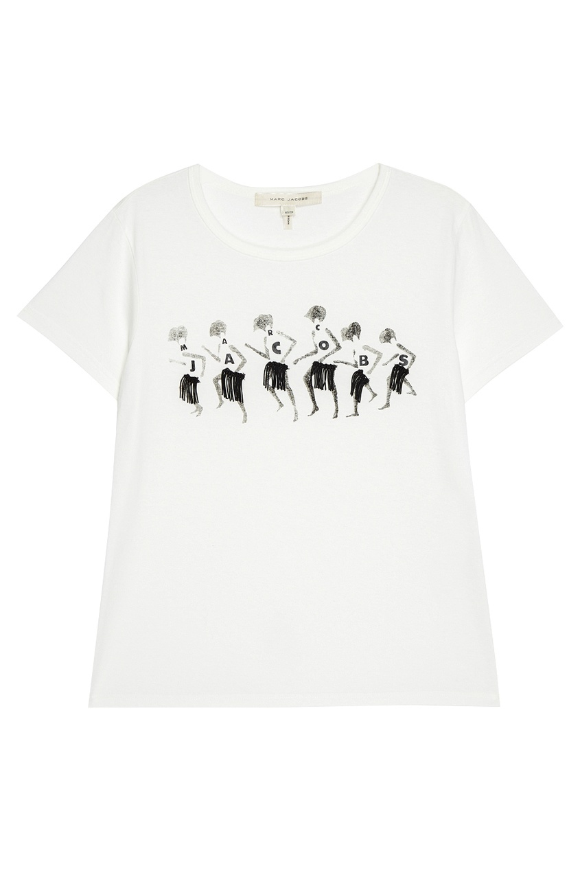 Marc Jacobs Белая футболка с принтом и логотипом футболка белая с принтом ido ут 00011957