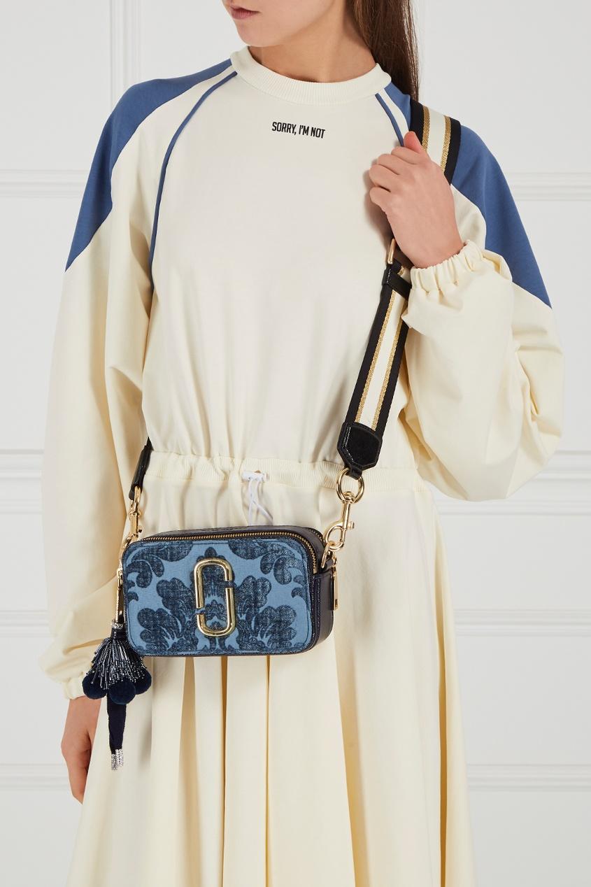 цена Marc Jacobs Кожаная сумка с бархатом Snapshot голубая онлайн в 2017 году