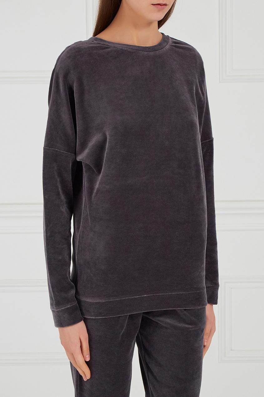 Серый велюровый свитшот